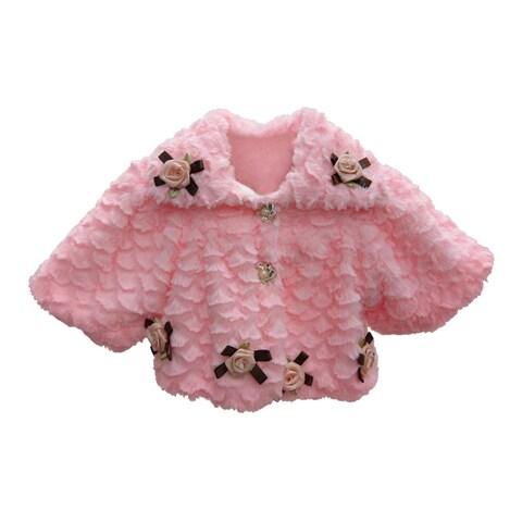 Little Girls Pink Faux Floral Embellishment Button Closure Coat 1T-3T