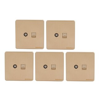 5Pcs Compter + Cable TV 2 Port Socket Outlet Wall Plate Golden Tone 86mmx86mm