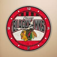 "Chicago Blackhawks 12"" Art Glass Clock"