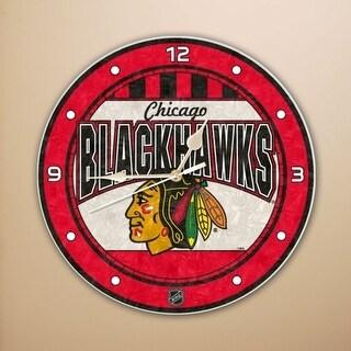 """Chicago Blackhawks 12"""" Art Glass Clock"""