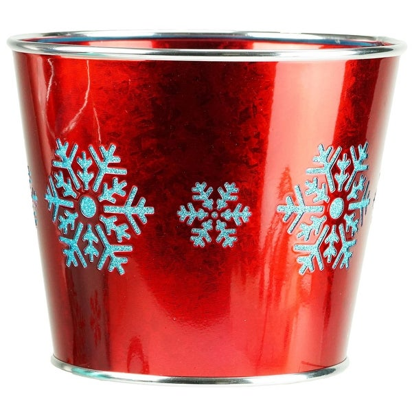 """8.5"""" Large Red with Blue Snowflakes Christmas Potted Plant Cover"""