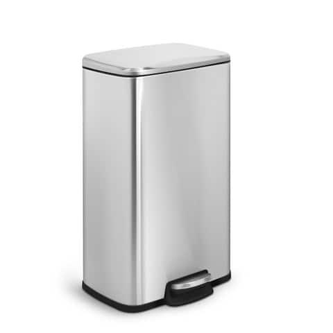 INNOVAZE 8 Gal./ 30 Liter Fingerprint Free Brushed Stainless Steel Rectangular Kitchen Trash Can