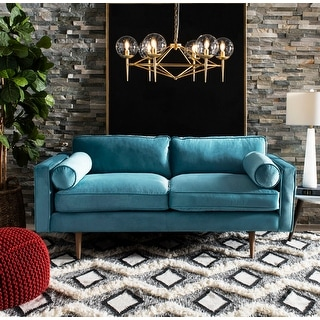 Safavieh Couture Nyla Cerulean Blue Velvet Sofa with Arm Pillows