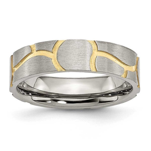 Chisel Stainless Steel Satin & Grooved Gold Plated 6mm Band