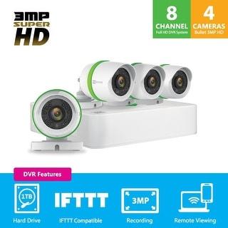EZVIZ Smart Home 1536p HD (3MP) Security Camera System, 4 Weatherproof HD 1536p Cameras, 8 Channel DVR 1TB HDD, 100ft Night Visi