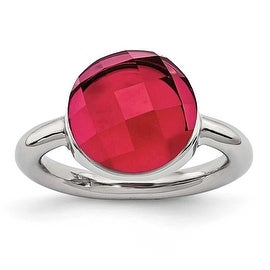 Chisel Stainless Steel Polished Red Glass Ring
