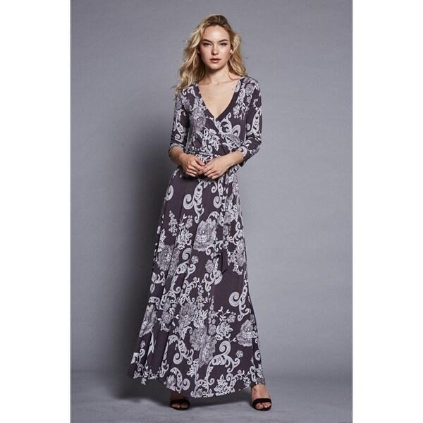 64cfe985681b9 Shop 3/4 Sleeve Dark Grey Damask Bohemian Maxi Dress - Free Shipping ...