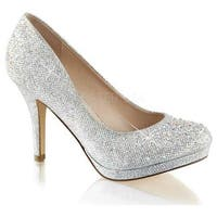 Fabulicious Women's Covet 02 Pump Silver Glitter Mesh Fabric