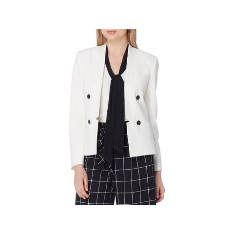 Tahari Womens Blazer Double Breasted Open Front