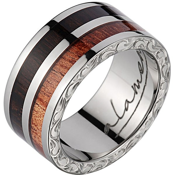Titanium Wedding Band With Koa & Macassar Wood Inlay 8mm