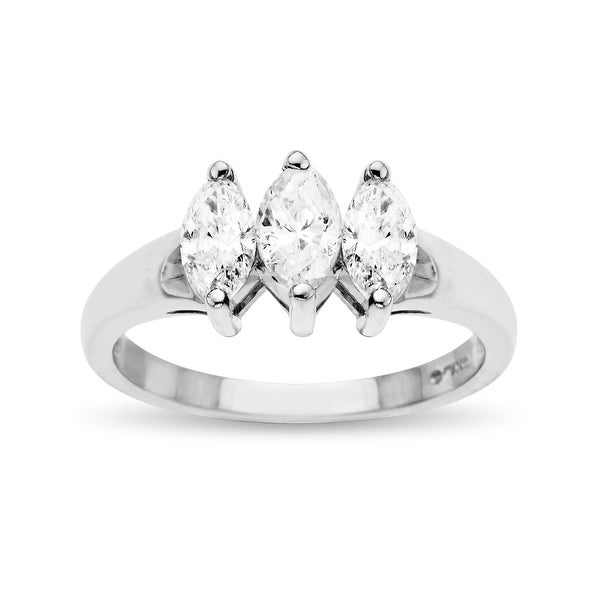 7/8 ct Diamond Anniversary Ring in 14K White Gold - Size 7