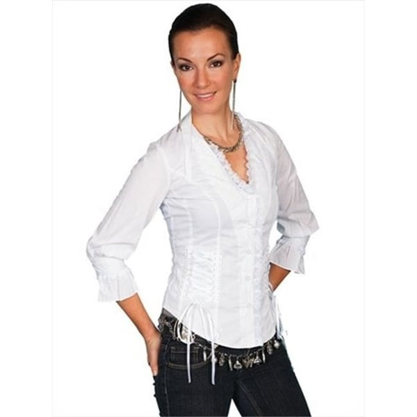 c5fce5548e Shop Scully Psl-048-Wht-Xl Female Cantina Ruffle Lace Corset Western Shirt  White - Xl - Free Shipping Today - Overstock.com - 27105931