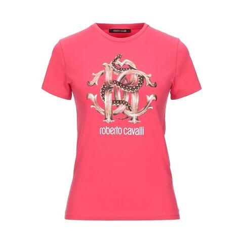 Roberto Cavalli Women's Cotton Crew Neck Snake Logo T-Shirt Pink