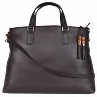 "Gucci 365345 Large Brown Leather Bamboo Tassel Crossbody Handbag Purse - 18""x12.5""x6"""