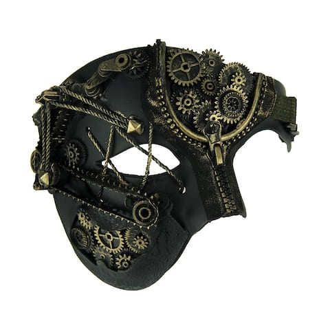 Elaborate Steampunk Style Half Face Phantom Adult Costume Mask - 5.25 X 7 X 4 inches