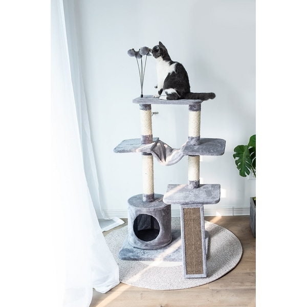 Catry Four-Level Cat Tree Condo Gray with Natural Sisal Scratching Posts, Teasing Toys, Scratching Cardboard. Opens flyout.
