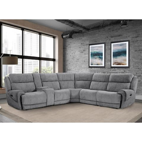 Q-Max 6-Piece Power Reclining Sectional With USB Ports And Cup Holders
