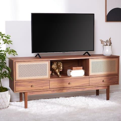 "SAFAVIEH Ceu Walnut/ Gold 59-inch Storage TV Media Stand - 59"" W x 15.4"" L x 25.9"" H"
