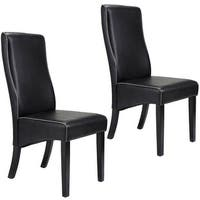 Costway Set Of 2 Dining Chairs PU Leather High Back Armless Home Furniture Black