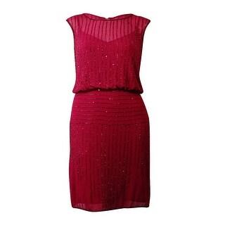 Adrianna Papell Women's Beaded Cap Blouson Crepe Dress - Black