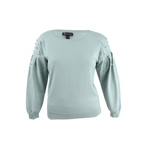 INC International Concepts Women's Embellished Bishop Sweater (L, Antique Sage) - L