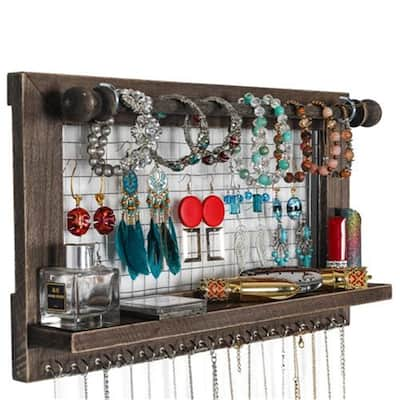 Wall Mounted Jewelry Stand With Detachable Bracelet Shelf And 16 Hooks- Brown - N/A