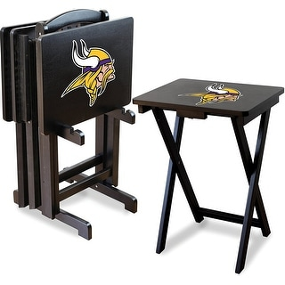 Official Licensed Minnesota Vikings NFL Football TV Snack Trays with Storage Racks (Set of 4)