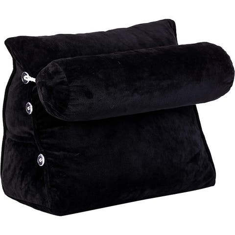 Cheer Collection Wedge Shaped Support Pillow and Bed Rest Cushion for Reading, Gaming, Watching - with Adjustable Neck Pillow