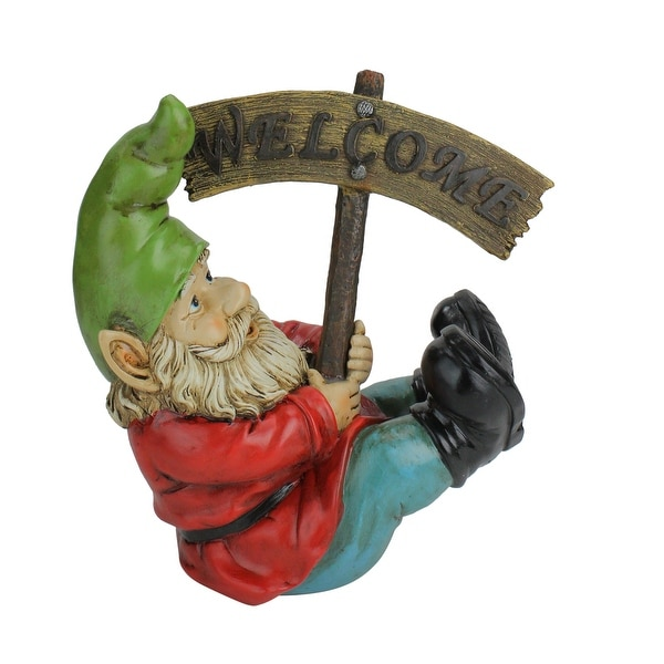 """10.5"""" Silly Gnome with Welcome Sign Outdoor Garden Statue - N/A"""