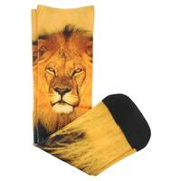 Sof Sole Boys Digital Design Casual Crew Lion Socks Yellow - Yellow/Black - One size