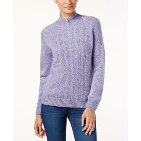 Karen Scott Women's Petite Cable-Knit Sweater Brightblue Size XL - Petite-XL
