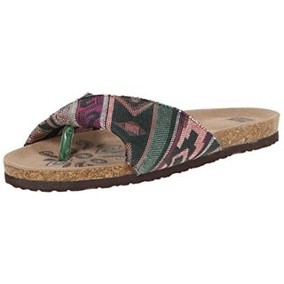 Muk Luks Womens Lucy Folded Strap Cork Thong Sandals - 6 medium (b,m)