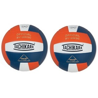Tachikara Sensi-Tec Composite Leather Volleyball (Orange/White/Blue, 2-Pack)