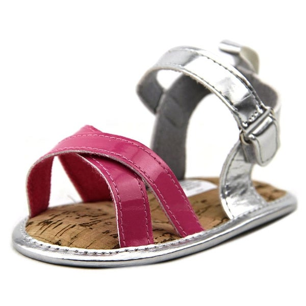 Luvable Friends Strappy Sandals Infant Open-Toe Synthetic Pink Slingback Sandal