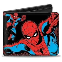 Marvel Comics Spider Man Action Poses Black Bi Fold Wallet - One Size Fits most