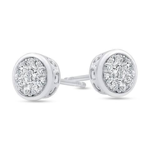 1/2 Carat Bezel Set Sterling Silver Cluster Stud Earring In Lab Grown Diamonds (I, SI1) by Grown Brilliance
