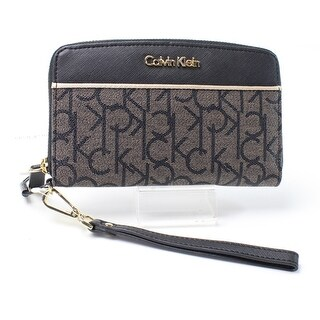 Calvin Klein NEW Black Gold PVC Signature Zip-Around Wristlet Wallet