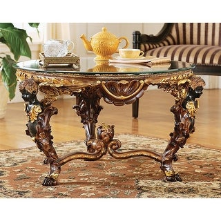 Design Toscano Louis XIV Glass - Topped Cocktail Table - 30 x 34 x 19.5