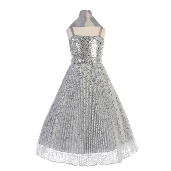 16ad1310c7cb0 Shop TGI Kids Girls Silver Sequin Pleated Lace Junior Bridesmaid Dress -  Free Shipping Today - Overstock - 19293314