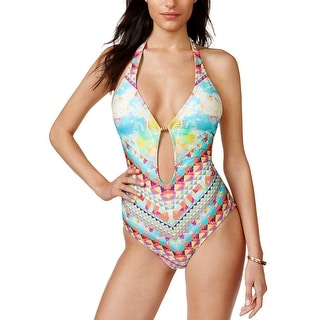 Bar III Womens Printed One Piece Swimsuit Multi Color X-Small
