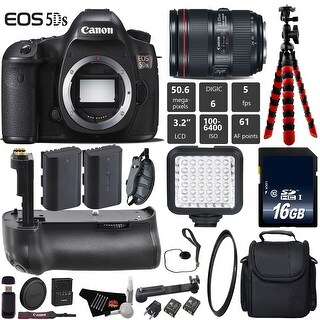 Canon EOS 5DS DSLR Camera With 24-105mm f/4L II Lens + Professional Battery Grip + Case + Card Reader Bundle - Intl Model