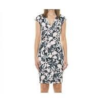Alexia Admor Green Womens Size XL V-Neck Floral Sheath Dress