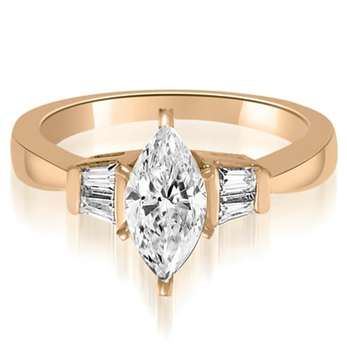 0.95 cttw. 14K Rose Gold Marquise And Baguette 3-Stone Diamond Engagement Ring