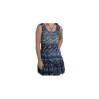 Roper Western Dress Womens Leopard Floral Blue 03-057-0514-5024 BU