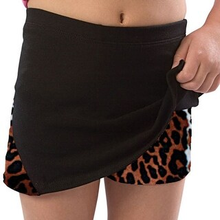 Pizzazz Girls Size 2T-16 Leopard Skirt With Boy Cut Shorts Dance Cheer