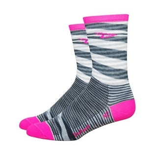 DeFeet AirEator HiTop 5in D-Logo Urban/Stripe Cycling/Running Socks - AIRTURPS - urban space dyed w/ hi-vis pink stripe