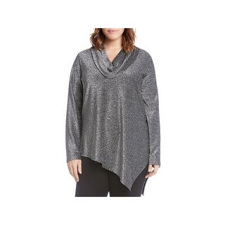 Karen Kane Womens Plus Pullover Top Metallic Sparkle