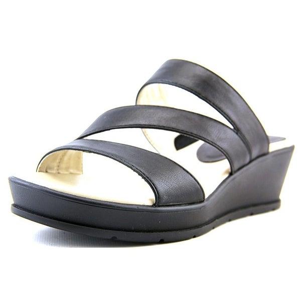 Kim Rogers Frienda Women Open Toe Synthetic Black Wedge Sandal