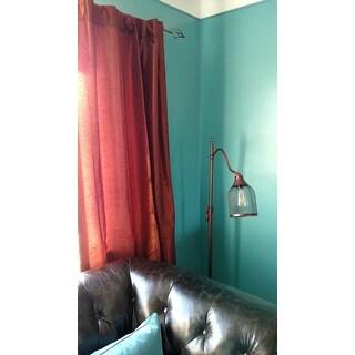 EFF Burnt Orange Vintage Faux Dupioni Silk Curtain Panel