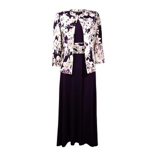 Jessica Howard Women's Petite 2PC Floral Ruched Jersey Dress Set - eggplant